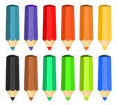 Cartone animato set di matite colorate di legno — Vettoriale Stock