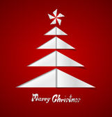Merry christmas card con un albero bianco in carta — Vettoriale Stock
