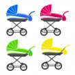 Colored strollers — Stock Vector
