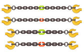 Vector illustration set of chains - weak or strong link concept — Stock Vector