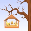 Bird house with birds are hung on branch — Stockvektor