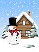 Fond de noël avec bonhomme de neige — Vecteur