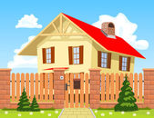 Family house behind the wooden fence with the gate. — Stock Vector