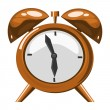Stock Vector: Alarm clock on the white background