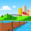Daytime view of the city across the lake — Stock Vector