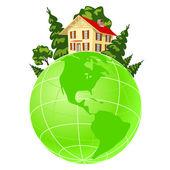 Illustration of house on green earth — Vector de stock