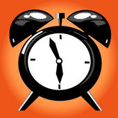 Alarm clock on the orange background — Stock Vector