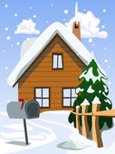 Illustration of house in snow landscape — Stock Vector