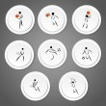 Sport symbol stickers — Stock Vector
