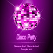 Purple Party background, disco ball — Stock Vector