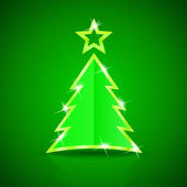 Glossy Christmas tree on the green background — Stock Vector