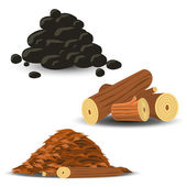 Firewood, Wood Chips and Coal — Stock Vector
