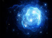 Blue space nebula (All art elements made by me) — Stock Photo