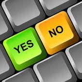 Ja och ingen knapp på tangentbordet. — Stockvektor