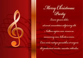 Christmas party card. Celebration background with treble clef and place for your text. — Stock Vector