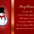 Christmas card. Celebration background with snowman and place for your text. — Stock Vector #34740939