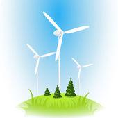 Vector wind power station. Wind turbine against the blue sky — Stock Vector