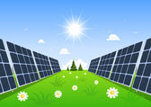 Solar panel produces green energy from the sun. — Stock Vector