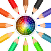 Vector colored pencils arranged in a circle — Stock Vector