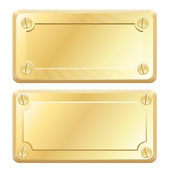 Vector Gold Metal Labels - Nameplates — Stock Vector