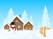 Vector picturesque village in winter landscape — Stock Vector