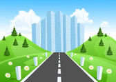 Road through the countryside into the city — Stock Vector