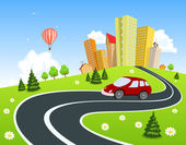City surrounded by nature landscape with car — Stock Vector