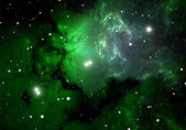 Green cold hydrogen clouds in the nebula — Stock Photo