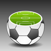 Fotbalové hřiště umístěné na fotbalový míč. vektor — Stock vektor