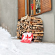 Ladle and logs at winter snow season — Stock Photo
