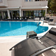 Outdoors luxury tourism hotel pool for swimming — Photo #13726771