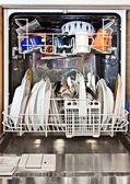 Modern home dishwashing machine appliance showing open — Stock Photo