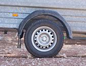 Detail of vehicle wheel drawbar trailer transportation — Stock Photo
