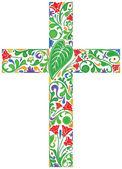 Floral cross — Stock Vector