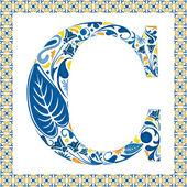 Blauwe letter c — Stockvector