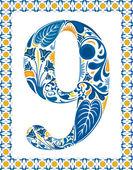 Mavi sayı 9 — Stok Vektör