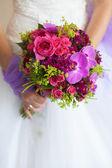 Bride with bouquet, closeup — Stock Photo