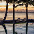 Infinity pool at dawn - Stock Photo