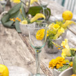 Rustic garden table setting — Stock Photo