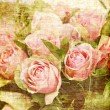 Vintage canvas rose print — Stock Photo