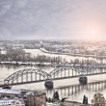 Daugava railway bridge — Stock Photo #28263083