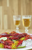 Traditional swedish crayfish meal — 图库照片