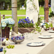 Garden wedding table setting — Stock Photo