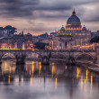 Stock Photo: Illuminated bridge in Rome Italy