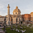 Sun setting on Trajans column Rome — Stock Photo