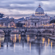 Stock Photo: Rome and the river tiber at dusk