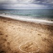Message of a missing love in the sand — Stock Photo