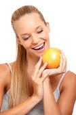 Portrait of a healthy woman wants an orange — Stock Photo