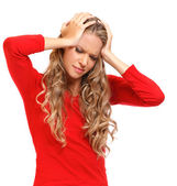 Portrait of a blonde woman with severe headache — Stock Photo