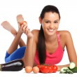 Brunette woman posing with healthy vegetables — Stock Photo